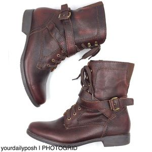 Earthies cordovan brown Porto lace-up combat boots